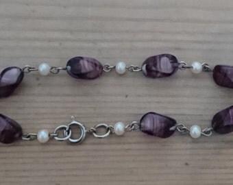 Vintage purple glass bead and pearl bracelet