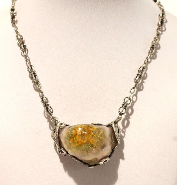Ethiopian Opal Sterling Silver Pendant - Rough Opal  - Handmade Jewelry Watch Video #1443