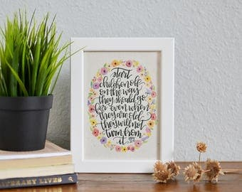 Proverbs 22 6 Calligraphy Quote on Handmade Paper - Bible Verse - Start Children Off Biblical Quote Kid Decor Baptism Print - Proverbs Decor