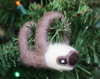 Needle-felted Sloth Christmas Ornament
