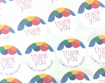 Thank You Labels / Round Thank You Packaging Stickers / Fun Happy Mail Labels / Colorful Thank You Stickers / Labels