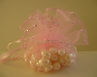 Round organza bags.  Pale pink organza,  gift, jewellery, wedding bags. Pouches.  26cm  Set of 10