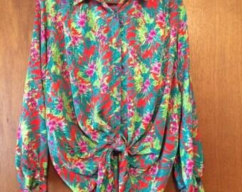 Vintage Women's Helen Fabrikant Hawaiian Tie-Front Long Sleeve Blouse M / L