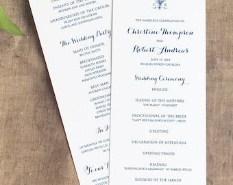Vintage Monogram Wedding Wedding Program, Navy Monogram Wedding Program, Panel Style, Wedding Ceremony Program