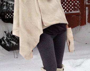 CLEARANCE  White Faux Fur Wrap, White Faux Fur Poncho, White Faux Fur Shawl