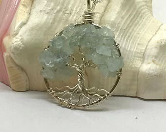 Minimalist Tree of Life a Sterling Silver Tree Of Life Aquamarine Necklace On Sterling Chain Wire Wrapped Pendant Jewelry March Birthstone