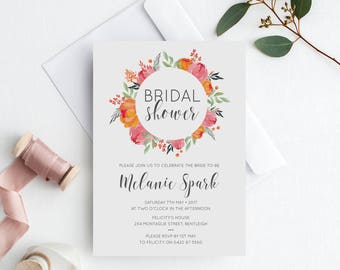 Floral Bridal Shower Invitation | Spring Bridal Shower Invite | Digital Artwork