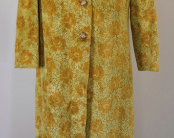 Incredible 1960's Yellow Tapestry Floor Length Maxi Coat with Embellished Buttons