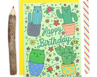 Cactus Birthday Card, Cat Birthday Card, Cacti Card, Succulent Card, Cat Pattern Card, Plant Card, Happy Birthday Cactus Card, Cute Birthday