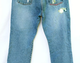 Vtg Ralph Lauren High Waisted Distressed Jeans Embroidered Floral Vintage 90s Womens Clothing Polo sz 12
