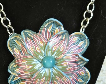 Polymer Clay Flower Pendant Necklace Artisan Made In Time For Summer Party  Handmade Polymer Clay Jewelry Artist Designed and Created Unique