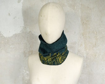 Kids Scarf ecofriendly with Floral Print, Kidswear Neckwarmer, Beanie Hood Loopscarf, Gift for Kids, Blue-Green Loop with Yellow Meadow