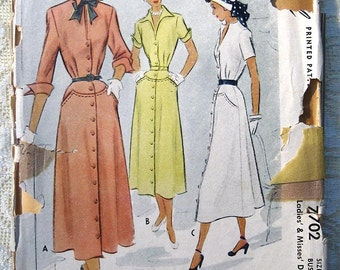 Vintage 50s Shirt Dress.  McCall 7702 Sewing Pattern. Size 14