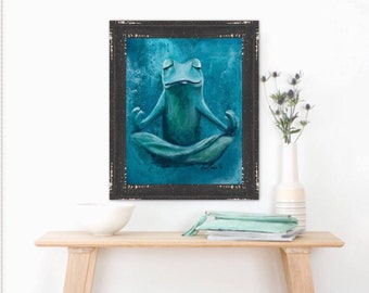 Zen Frog, Yoga Studio, Animal Print, Giclee