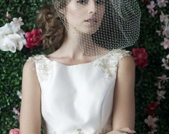 ZOOEY Large w/ RHINESTONES ALLOVER - bridal birdcage veil, birdcage, russian netting, blusher veil, birdcage veil, wedding, netting birdcage
