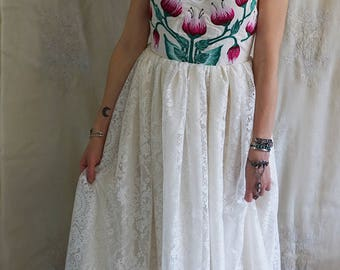 Bloom Gown... women wedding dress formal boho whimsical bustier romantic fairy mexican country hand embroidered eco friendly meadow