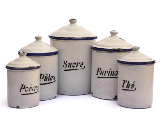 white enamel canister set shabby french kitchen containers