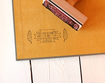 Custom Library Book Stamp - Tribal This Book Belongs To Stamp - Hipster Feathers and Arrows Book Stamp -  Rubber Stamp