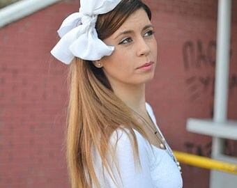 White Headband, White Hair Scarf, Womens Head Scarfs, Hair Covering, Long Hair Accessory, Tie Back Headscarf, Retro Head Scarf, Head Scarf