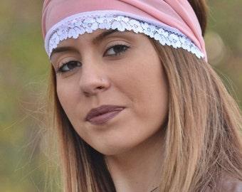 Boho Headband, Jersey Headband, Peach Headband, Lace Headband, Running Turban, Yoga Turban, Workout Headband, Womens Turban, Womens Headband
