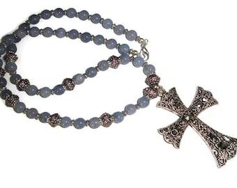 Aquamarine Cross Necklace Gunmetal Crystal Cross Necklace Religious Jewelry Necklace for Faithful Rhinestone cross aquamarine blue and pink