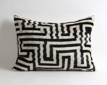 Black & White Silk Velvet Ikat Pillow Cover 16x22 geometric handwoven handdyed silk velvet ikat pillow cover couch Pillow, Gift, Ikat Pillow