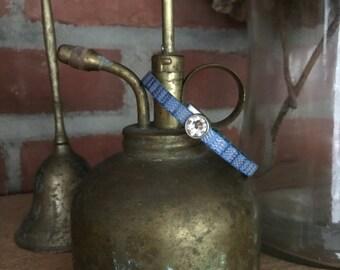 Petite Sparkly Metallic Blue Leather Bracelet with Swarovski Crystal - Handcrafted