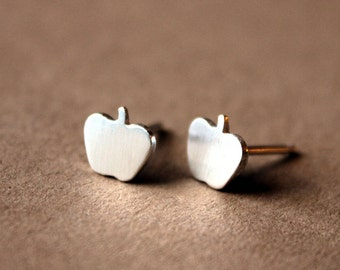 Tiny Sterling Silver Apple Post Earrings - Handcrafted Silver Jewelry - Silver Earrings