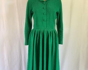 1950s Kelly Green Wool Boucle Knit Dress Full Skirt