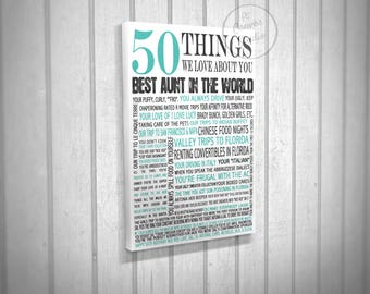 50 things we  love about you, gift for mother, gift for aunt, gift for father, 50 birthday art, we love you MOM art, custom canvas print art