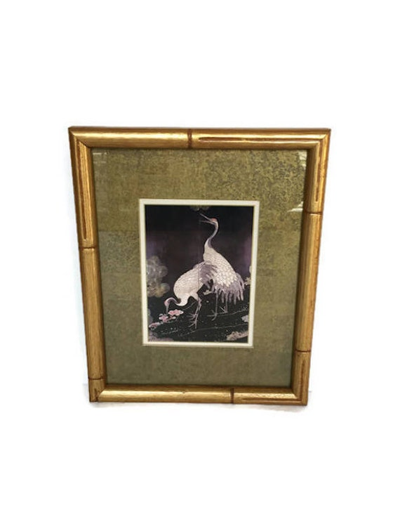 Vintage framed crane picture crafted by franklin framed art bamboo texture