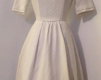 Vintage 1950s Creme White Dress