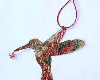 Hummingbird Ornament - Metal Bird - Hummingbird Wall Decor - Metal Ornament - Bird Ornament - Recycled Ornament - Eco Friendly Ornament