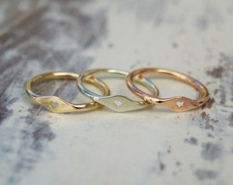 9ct gold heart ring - 9k gold -  heart ring - Handmade tiny signet ring - Yellow gold ring - Rose gold ring - White gold ring - One ring