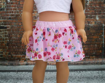 Doll Clothes | Trendy Pink Floral Print Overlay SKIRT for 18 Inch American Made Doll Clothes