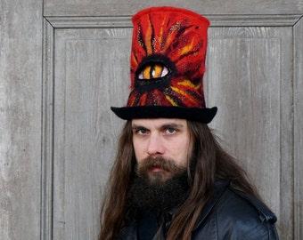 Unique red&black top hat devil eye and pentagram Black metal style Demon Sauron eye Felted crazy high hat Festival fashion  Mad Hatter  OOAK