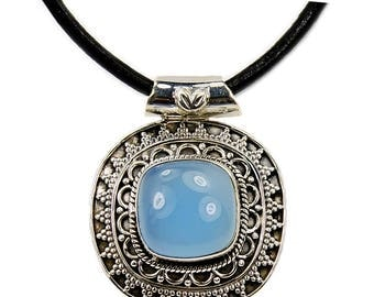 Mystical Medallion Aqua Chalcedony & .925 Sterling Silver Pendant Leather Cord Necklace AF405 The Silver Plaza