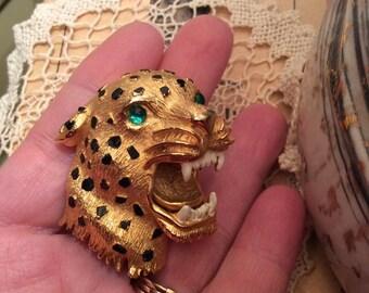 Vintage 1980s Brooch Pin Hattie Carnegie Signed Ferocious Tiger W/Green Stone Eyes