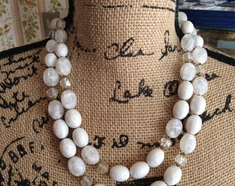 Vintage 1950s Necklace Two Strand White Beads Made In Western Germany Lightweight