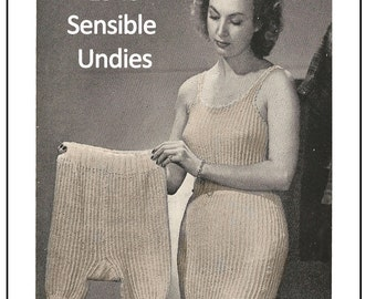 1940s Wartime Sensible Undies Knitting Pattern - PDF Knitting Pattern - Lingerie Knitting Pattern - Instant Download