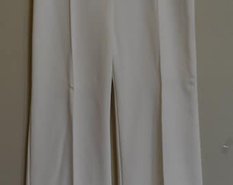 First Edition White 100% Polyester 70's Vintage Elephant Bell Flare Slacks High Waist