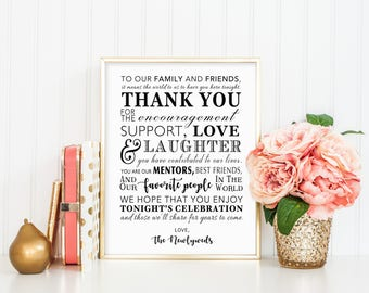 PRINTABLE  - Thank You Family Friends Wedding Reception Sign from Newlyweds Mr & Mrs 8 x 10 or 5 x 7 DIY Instant Download