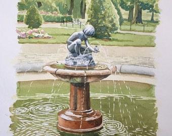 Boston Public Garden Fountain - Original Watercolor Painting