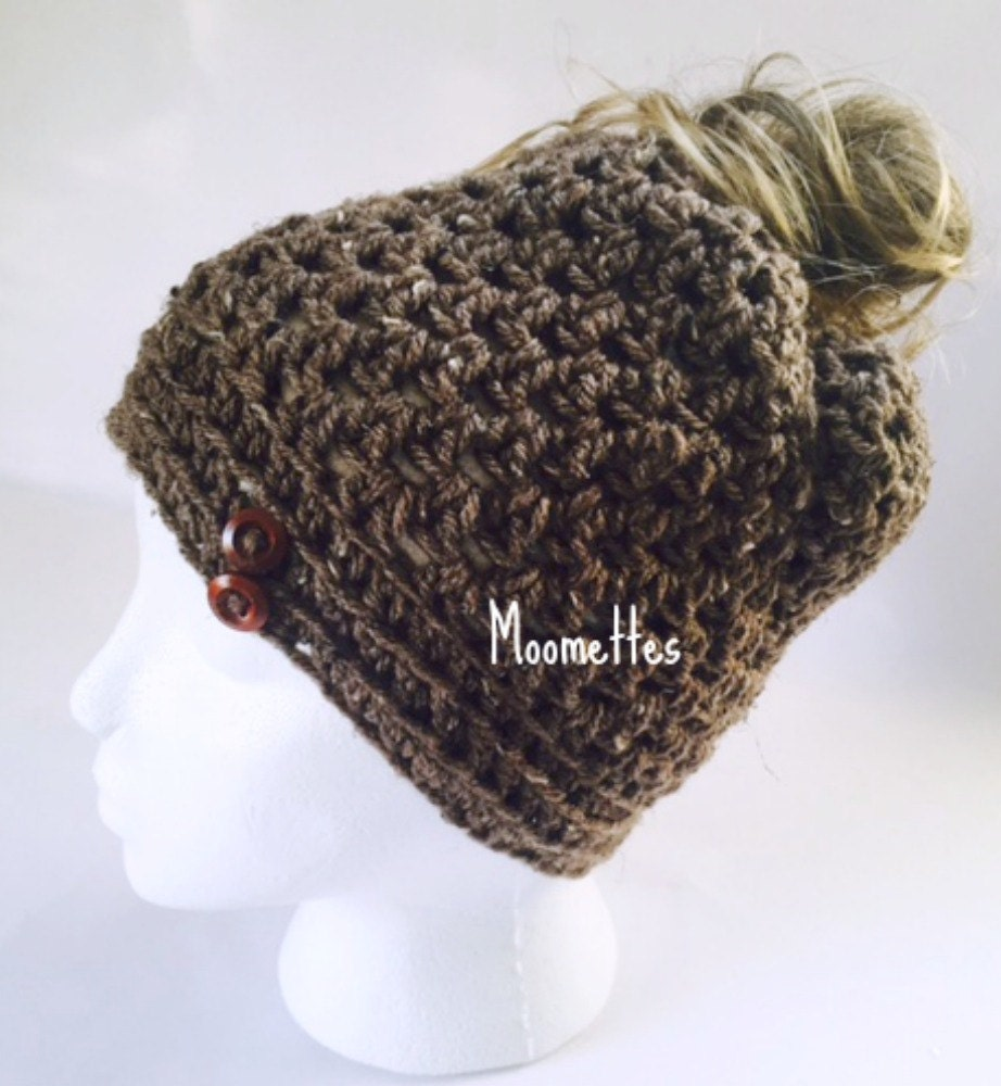 Crochet Bun Hat : Crochet Handmade Messy Bun Hat Brown Beanie by MoomettesCrochet