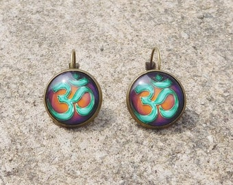 Om Earrings Buddhist Earrings  Om Drop Earrings Yoga Jewelry Gypsy Jewelry Aum Earrings SALE