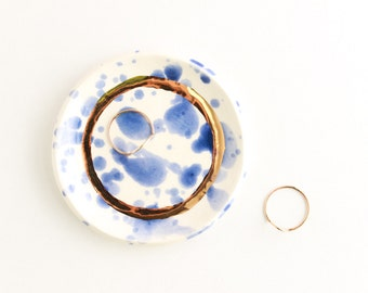 Watercolor Ring Dish, Blue Home Decor, Splatter Pottery, Ceramic Jewelry Dish, Trinket Dish, Gold Ring Holder, Jewelry Storage, Home Gift