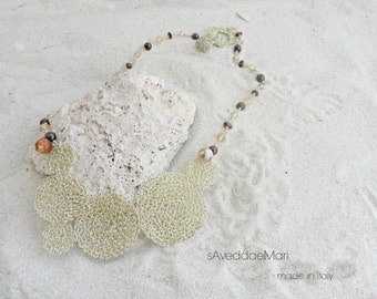 Wire crochet necklace and precious stones, handcrafted jewelry, Italian jewelry, made in Italy Sardinia, copper jewelry,