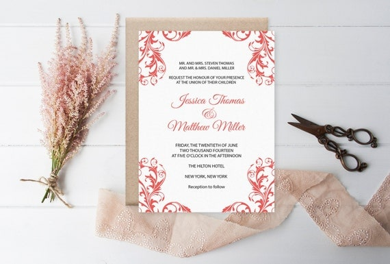 Flourish Wedding Invitations: Damask Wedding Invitation Template Coral Flourish Damask