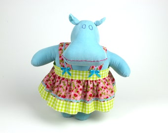 Hippopotamus plush doll - Blue hippo stuffed animal - Soft doll - Modern cuddly toy - Gift for kids - Mint the Mippo - Dress-up toy