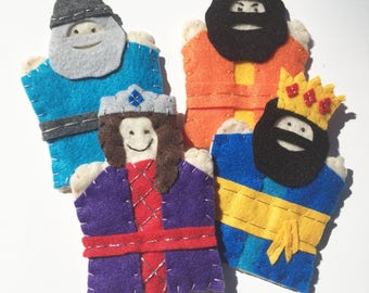 Purim Puppets Queen Esther, King Ahasuerus, Mordecai, and Haman Children's Finger Puppets Biblical Feast Day Jewish Judaica Bible Puppets